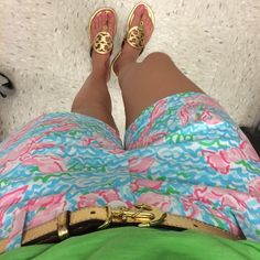 Seaside Style: Gold Tory Burch sandals and classic Lily Pulitzer shorts
