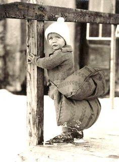 Ice skating child with safety cushion - Netherlands - 1933