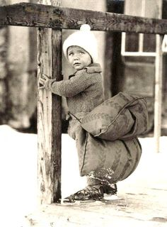 Ice skating child with safety cushion - Netherlands - 1933