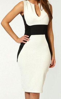 White, Black contrast midi, knee length stretch dress, Keyhole neck