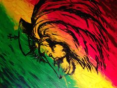 Rasta Lion acrylic on canvas by Kelly DeChristopher