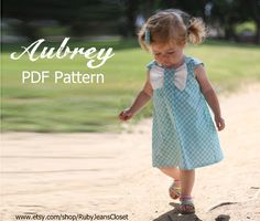 Aubrey - Bow Dress Sewing Pattern. Girl's Dress Pattern. Toddler Pattern. PDF Pattern. Sizes 12m-8 included. $7.50, via Etsy.