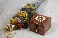 Hand carved wooden jewerly box. by GiftCaneShop on Etsy