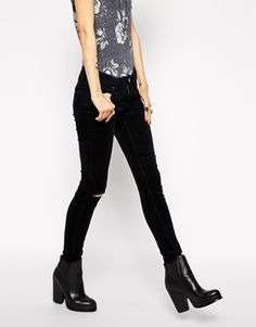 ASOS Mid Rise Skinny Jeans in Washed Black Cord With Ripped Knee
