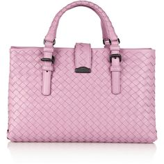 Bottega Veneta Roma small intrecciato tote ($2,395) ❤ liked on Polyvore featuring bags, handbags, tote bags, pink, pink tote bag, leather tote purse, leather handbags, pink tote and multi pocket tote