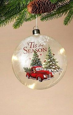 New Tis The Season VINTAGE RED TRUCK LIGHTED CHRISTMAS ORNAMENT Glass Light #YHD 12 Days Of Christmas, Christmas Holidays, Christmas Bulbs, Christmas Decorations, Holiday Decor, Vintage Red Truck, Tis The Season, Glass Ornaments, Cricut