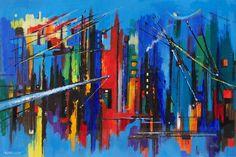 Salford Docks (oil on board) by David Wilde