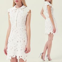 White Sleeveless Embroidered Bodycon Skater Dress