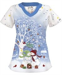 UA Snow Much Love White Print Scrub Top Style #  H195SML $14.99 at www.uniformadvantage.com