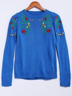Long Sleeve Jewel Collar Floral Embroidery Sweater #womensfashion #pinterestfashion #buy #fun#fashion
