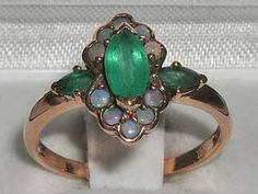 FINEST 9CT ROSE GOLD NATURAL AAA EMERALD & OPAL RING
