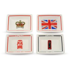Halcyon Days London Calling Mini Trinket Trays - Set of 4 ($78) ❤ liked on Polyvore featuring home, home decor, small item storage, red, red box, red home decor, halcyon days, halcyon days box and pattern box