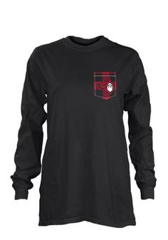 Rutgers Scarlet Knights Womens Buffalo Plaid Grey LS Tee