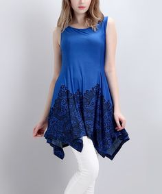 Love this Blue Lace-Print Sleeveless Handkerchief Tunic by Reborn Collection on #zulily! #zulilyfinds