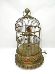 1890 Antique BONTEMS Victorian Mechanical Singing Moving Bird Decorative Cage