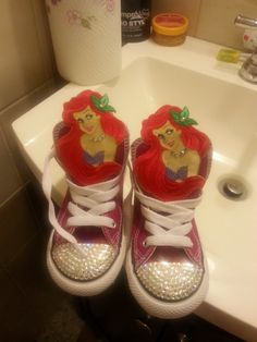 d51321cafbe3 Little Mermaid Converse by KeshoniasKreationz on Etsy