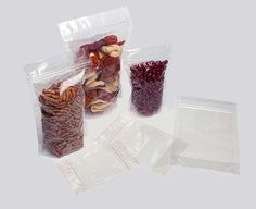 ClearBags.com - Food Safe Bags - Stand Up Zipper Pouch    When freshness and reusability are key, Clear Zip Pouches offer an airtight resealable closure with a flanged inter-locking zip system. • Perfect for non-refrigerated items such as dried fruit, nuts, or jerky.   I pack dried food in three sizes of plastic bags: 4 X 6 or sandwich size bags for meals and desserts, 3 X 5 or snack size bags for sides and snacks, and 2 X 3 or modified snack size bags for milk and cheese powders.