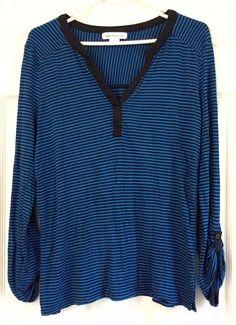 Liz Claiborne Knit Top LS V-Neck 100% Rayon Blue & Black Stripes Roll Sleeves #LizClaiborne #KnitTop #Casual