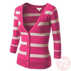 Striped Cardigan Sweater. Fuchsia and Heather Beige stripes.