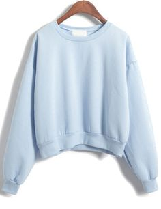 Shop Blue Long Sleeve Crop Sweatshirt online. Sheinside offers Blue Long Sleeve Crop Sweatshirt & more to fit your fashionable needs. Free Shipping Worldwide!