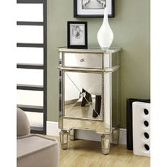 Mirrored 1-drawer Accent Cabinet | Overstock.com Shopping - Great Deals on Monarch Coffee, Sofa & End Tables