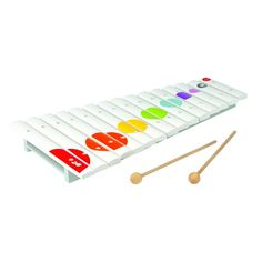 A colorful 15 note xylophone with 2 wooden sticks. The xylophone is made of solid wood coated with natural, non-toxic lacquers. Kids Toys Online, Musical Toys, Original Gifts, Music For Kids, Learning Through Play, Tablets, Creative Play, Baby Store, Gifts For Kids