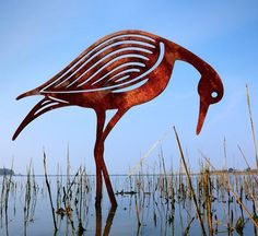 Contemporary bird sculpture crafted from rusted metal. The two bird sculptures make a great garden sculpture, pond sculpture, water feature. Steel Sculpture, Bird Sculpture, Abstract Sculpture, Garden Sculptures, Metal Garden Art, Metal Art, Sandpiper Bird, Rusted Metal, Two Birds
