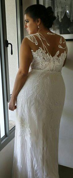 Illusion back of Koral plus size lace mermaid wedding gown. Studio Levana