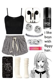 """""""I Like Boys With Flippy Hair"""" by katherinegrace1 ❤ liked on Polyvore featuring moda, PhunkeeTree, Charlotte Russe, H&M, WearAll, Maybelline, FOSSIL y Wet Seal"""