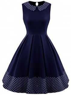 Polka Dot Panel Sleeveless Vintage Dress is part of Clothes Cute Vintage - Fashion Clothing Site with greatest number of Latest casual style Dresses as well as other categories such as men, kids, swimwear at a affordable price Simple Dresses, Pretty Dresses, Beautiful Dresses, Casual Dresses, Prom Dresses, 1950s Dresses, Casual Outfits, Vintage Dresses Online, Dress Vintage