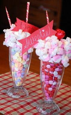Cute Valentines day idea -a clear, ice cream sundae glass (I picked mine up at our local Dollar Tree store!) -candy to fill the bottom of the glass -a styrofoam circle or half-circle (found in the floral or craft section of places like Walmart) -pink and white taffyor maybe suckers -2 candy pixie sticks (for the straws)