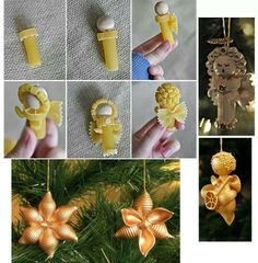 Cute macaroni ornaments.