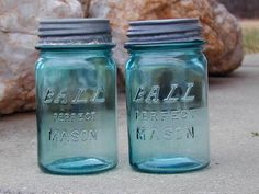 Antiques are something I love and these blue bell jars are no exception.