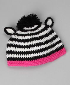 Take a look at this Black & Pink Zebra Pom-Pom Beanie - Infant, Toddler & Kids by 2 Crystal Chicks on #zulily today!