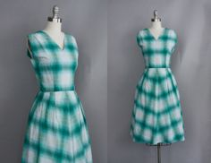 bright Pattern Play turquoise plaid day dress