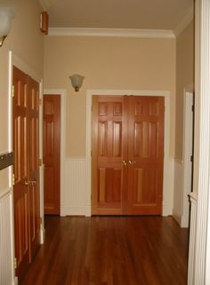 Upstairs Doors Natural Wood With White Trim Change The Gold Door S To