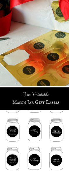 Free printable mason jar gift labels that are perfect for Christmas and the holidays!