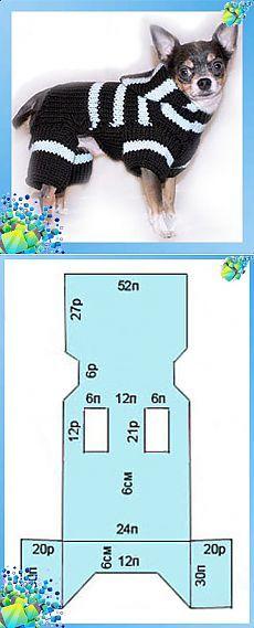 Вязанный комбинезон для собаки. Схема вязания 5