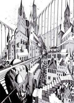 Josh Raymond | trabajos de perspectiva del Ilustrador Josh Raymond. Captura ciudades en movimiento en ángulos fuera de lo común.