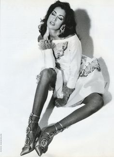 "Vogue Italia March 1992 ""Carillon"" Model: Yasmeen Ghauri Photographer: Patrick Demarchelier Stylist: Manuela Pavesi Hair: Sam McKnight Makeup: Mary Greenwell"