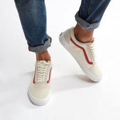 8c5e8595b8 Shop White Vans Old Vintage Skool Shoe for Mens by Vans