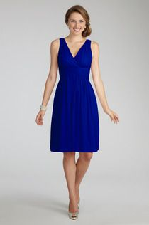 Donna Morgan - Jessie dress in Royal. This is a nice option for those who want straps. $189. Also, you can't really tell from the pic with this color, but there is really nice detailing.