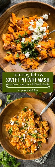 Quick & easy 7 ingredient Lemony Feta & Sweet Potato Mash - 5 minutes of hands on prep time and ready in 20 minutes or less! Gluten Free + Vegetarian + Low FODMAP Friendly