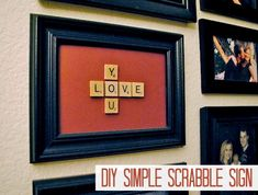 LOVE YOU Scrabble Sign - This would be so cute for Valentine's Day!!!