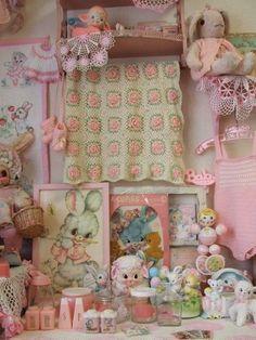 Vintage pink baby stuff