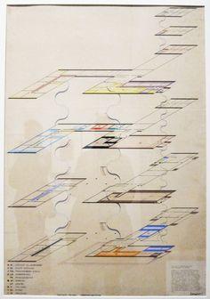 Hinnerk Scheper. Colour-coded orientation plan for the Bauhaus Building 1926.