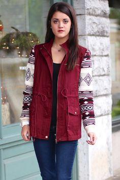 Aztec Sleeve Utility Jacket {Burgundy}