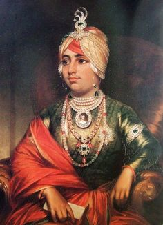 Maharaja Dilip Singh of Lahore. Portrait by George Beechy. Shown here at age fifteen. Amongst many other jewels, he is wearing a diamond Sarpech (Indian turban ornament) or aigrette with three plumes and a centrally placed emerald Duleep Singh, Maharaja Ranjit Singh, Raja Ravi Varma, Royal Indian, Indus Valley Civilization, History Of India, Vintage India, India Asia, Royal Jewelry