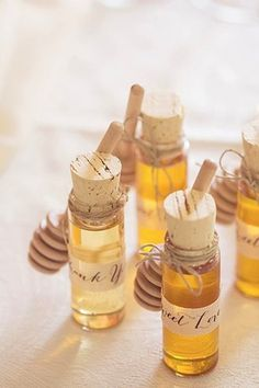 Milk & Honey wedding theme: small vial honey favors with dipper Wedding Favors And Gifts, Summer Wedding Favors, Honey Wedding Favors, Spring Wedding, Wedding Ideas, Summer Weddings, Wedding Venues, Fall Party Favors, Wedding Reception