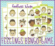 Free Printable Bingo Game about Feelings.  Perfect for preschool, kindergarten, or special needs classrooms.